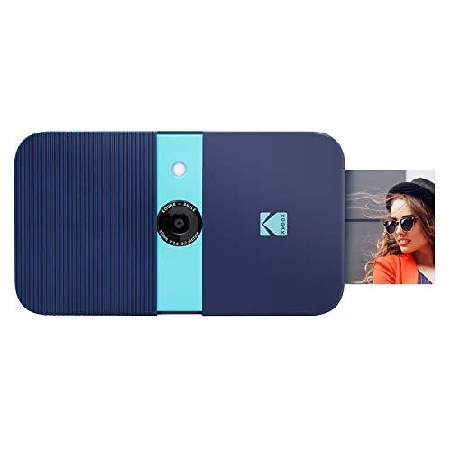 KODAK Smile Instant Print Digital Camera – Slide-Open 10MP Camera w/2×3 Zink Paper, Screen, Fixed Focus, Auto Flash & Photo Editing – Blue