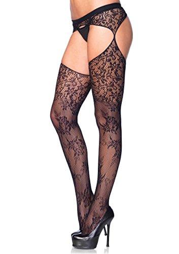 1104 (O/S) Bouquet Lace Stockings Floral Vine Attached Garterbelt]()