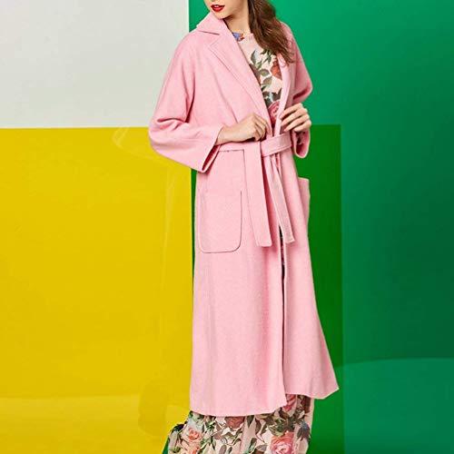 Bavero Trench Moda Casual Vintage Rosa Lunga Manica Tasche Cappotto Fit Autunno Parka Classiche Slim Primaverile Outerwear Vita Con Puro Giaccone Colore Alta Cinghia Donna fqfrT