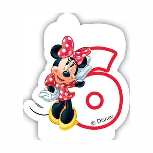 Unique Party Cafe Disney Minnie Mouse 6th Birthday Candle ToyCentre 71795