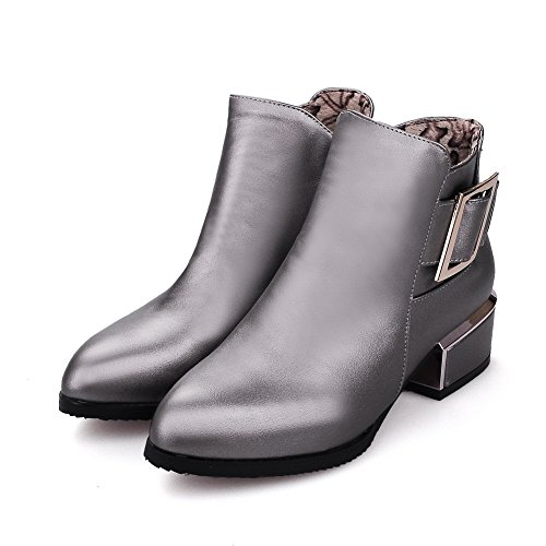 BalaMasa Girls Studded Rhinestones Metal Buckles Electroplate Heel Imitated Leather Boots Gray 0hweARw3iq