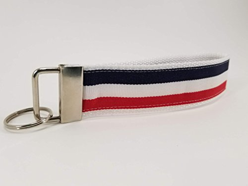 (Red White and Blue Stripe Wristlet Keychain)