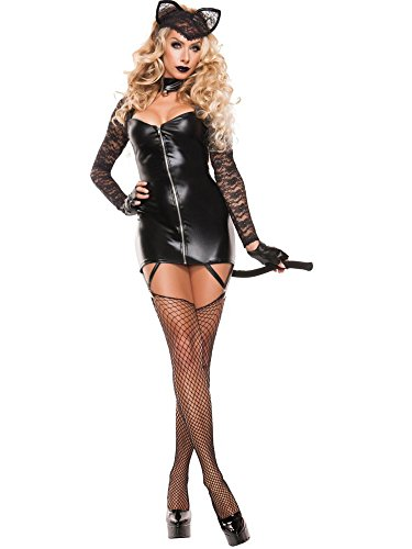 Sexy Animal Costumes For Women (Starline Women's Sexy Feline Bandit 3 Piece Costume Dress Set, Black, Small)