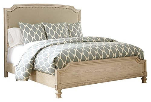 Ashley Furniture Signature Design - Demarlos Vintage Casual Upholstered Bedset - King Size Bed - Parchment White by Ashley Furniture