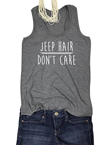 SCX Women Jeep Hair Don't Care Tank Tops T Shirts Blouses Grey -