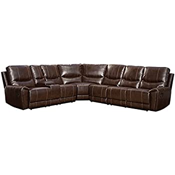 Exceptionnel Homelegance 4 Piece Bonded Leather Sectional Reclining Sofa With Cup Holder  Console, Brown