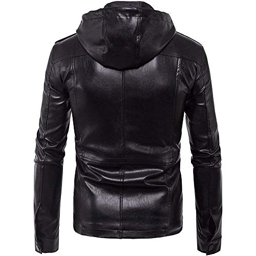 Simple Cremallera Hombre Larga Biker con Negro Retro Ocio Manga Outerwear B005 Leather Solapa Art Slim Chaqueta Leather Moderno Fit Jacket Bomber Estilo 0dw6qTWa
