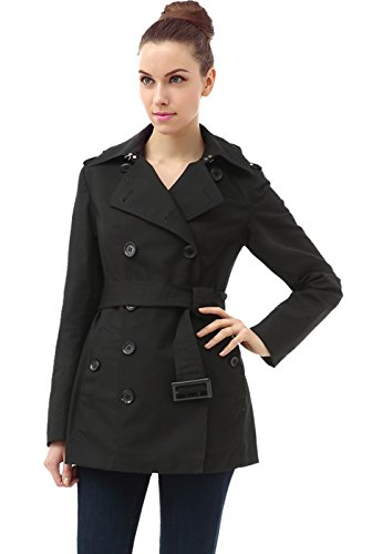 BGSD Women's Evelyn Classic Hooded Short Trench Coat - Black M ()