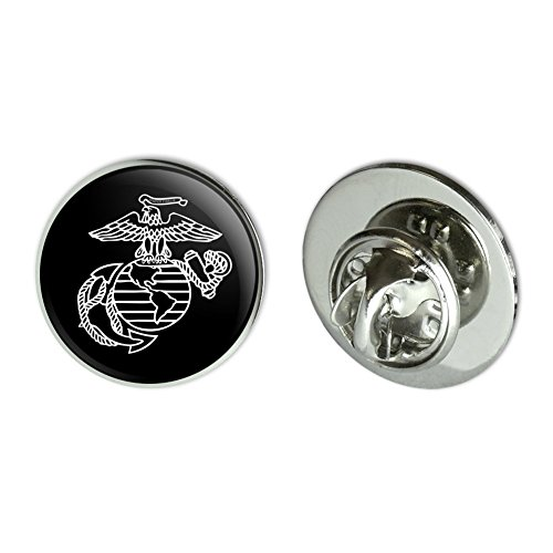 GRAPHICS & MORE Marines USMC White on Black Eagle Globe Anchor Logo Officially Licensed 0.75 Lapel Pin Tie Tack