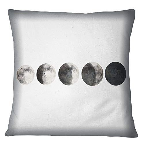 Timingila White Cushion Cover Lunar Eclipse Galaxy Home Decor Pillow Case Throw Printed Fabric Cushion Cover 1Pc - 18 x 18 Inches