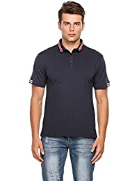 Men's Casual Contrast Color Classic Short Sleeve Polo Shirt