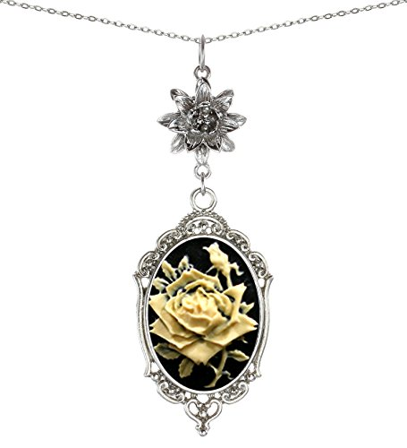 Yspace Lotus Charm Necklace Antique Decor Cameo Pendant 2 Chains Velvet Pouch for Gift (Rose)