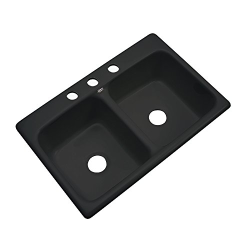 Dekor Sinks 50399 Westport Double Bowl Cast Acrylic Kitchen Sink-3 Hole, 33