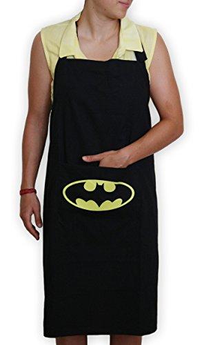 Kitchen stars Apron Bib, With Pocket, 100% Black Cotton, Batman Character, Home Cook, Machine (All Batman Characters)