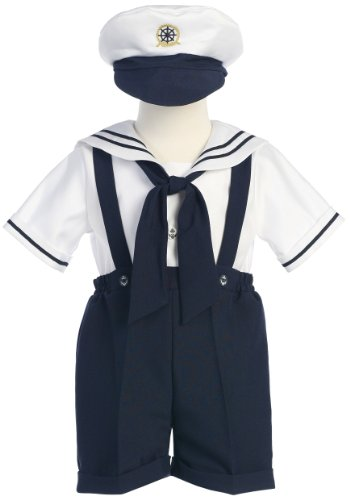 Classykidzshop Navy Sailor Boy Shirt, Shorts, Tie and Hat (Baby) (2T, Navy)