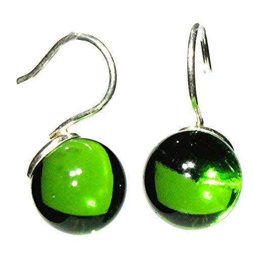 (Drop earrings for women sterling silver and glossy glass jewelry from a recycled Whisky bottle green)