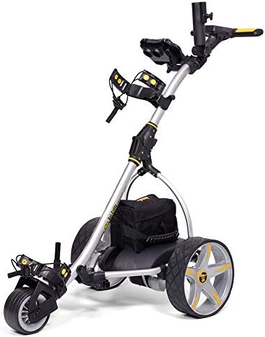 Bat-Caddy X3 Electric Push Cart w Free Accessory Kit, Silver, 35Ah SLA