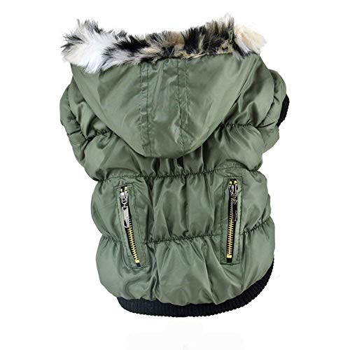 fogohill Small Medium Dog&Cat Winter Pet Cat Dog Soft Padded Coat Hooded Jacket Warm Windproof Costumes Jacket Green S(Tag:M)
