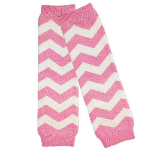 Wrapables Colorful Baby Leg Warmers, Chevron Pink and White