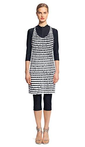 Modest Sea Mia 1-Pc Swim Dress Burkini Large Black & White