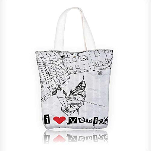 Canvas Tote Bag Gdola Silhouette Venetian Canal With Love Venice Frame Hanbag Women Shoulder Bag Fashion Tote Bag W11xH11xD3 INCH
