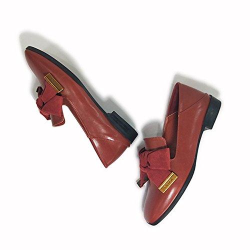 T-juli Kvinner Bowknot Firkantet Tå Tilfeldige Flate Loafers Syntetiske Leiligheter Krone Komfort Soft Slip-on Sko Rustrød