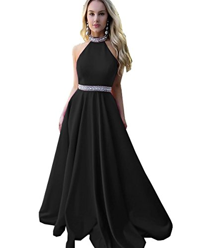Black Pleated Satin Halter (SHNE Women's Gorgeous Beaded Halter Floor Length Wedding Party Dress Pleated Satin Ball Gown Black US14)