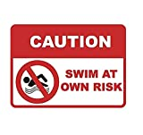 Caution - Swim at Own Risk Spa Sign - Swimming Pool Signs - Aluminum Metal