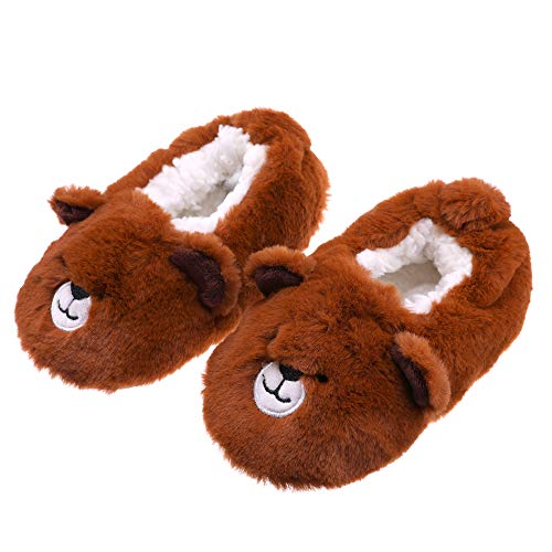 FANZERO Toddler Kids Girls Boys Cute Cartoon Soft Warm Plush Lining Non-Slip Slippers Winter House Shoes 1-5 Year Old (M / 2-3 Year Old, Brown Bear) -