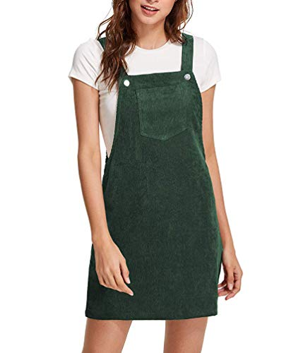 Women Suspender Dress A-Line Strap Corduroy Pinafore Mini Denim Overalls with Bib Pocket (X-Small, Green)