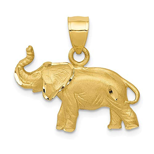 14k Yellow Gold Elephant Pendant Charm Necklace Animal Man Fine Jewelry Gift For Dad Mens For Him