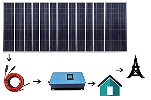 ECO LLC 1800W Home Grid Tie Solar Kit 12pcs 150W Solar Panel & 2000W Power Inverter Charging AC 110V