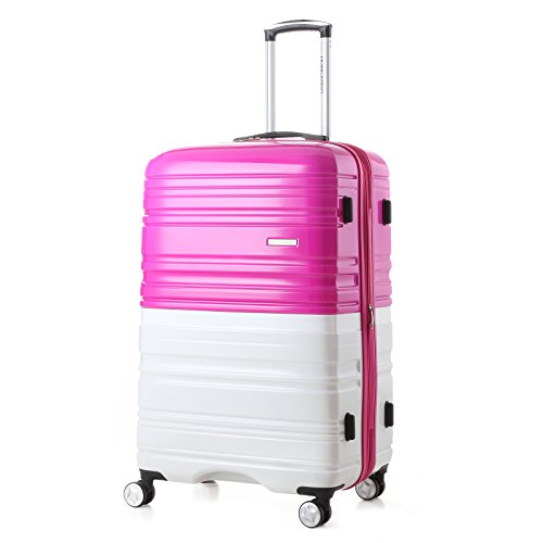 2 Pack Love Box[Boy and girl,daddy and boy,mommy and girl] 20''-28'' Luggage 360° Spinner Wheels Trolley Suitcase TSALock Travel Carryon Bag Hardside Travelhouse (Pink+White) by Chiuer (Image #1)