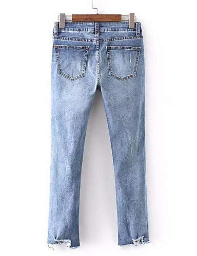 Couleur Slim Unie Femme Taille Blue YFLTZ Haute Jeans fxwgp4nfqT