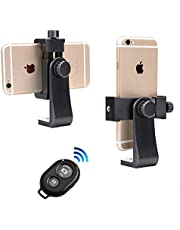 Smartphone Tripod Holder + Bluetooth Remote, 360° Rotation Vertical Bracket Phone Mount Adapter Clip Compatible with iPhone X 8 7 6 6s Plus Samsung Nexus