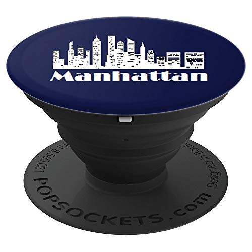 (Manhattan Skyline New York City BLUE and White - PopSockets Grip and Stand for Phones and Tablets )