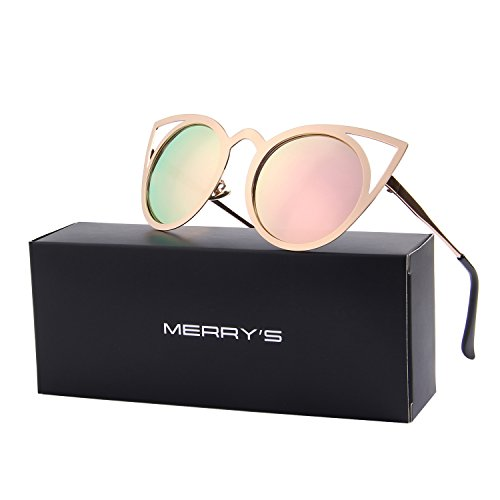 MERRY'S Cat Eye Sunglasses Round Metal Cut-Out Flash Mirror Lens Metal Frame Sun glasses S8064 (Pink, - Cat Sunglasses
