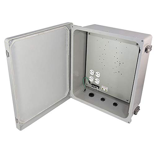 Altelix 14x12x6 Heated Fiberglass Weatherproof NEMA Enclosure with 200W Heater, Equipment Mounting Plate & 120 VAC Outlets