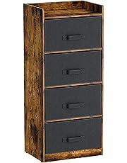 Rolanstar Dresser Chest Wood Storage Cabinet Unit for Bedroom, Closet, Entryway, Hallway, Nursery Room, 3 Fabric Drawers, Rustic Brown, 3/4