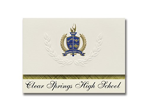 Signature Announcements Clear Springs High School (League City, TX) Graduation Announcements, Presidential style, Basic package of 25 with Gold & Blue Metallic Foil seal]()