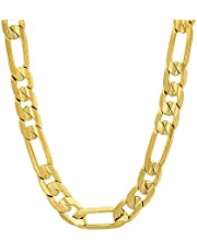 The Bling Factory 4mm-9mm 14k Yellow Gold Plated Flat Figaro Chain Necklace