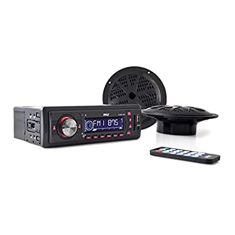 Pyle Marine In-Dash Stereo Receiver & Speaker Kit, Digital AM/FM Radio System, (2) 5.25'' Waterproof Speakers, MP3/USB/SD/AUX, Single DIN (12 V Prius Outlet)