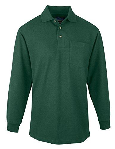Tri Mountain Mens 60 40 Pique Long Sleeve Pocketed Golf Shirt  609   Forest Green 2Xl
