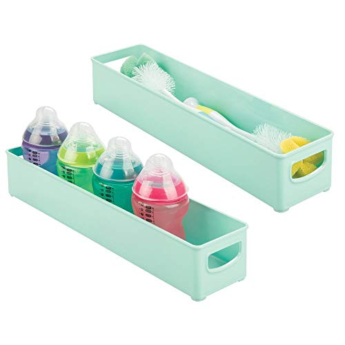 mDesign Storage Organizer Bin for Kitchen Cabinet, Pantry, Refrigerator, Countertop - BPA Free & Food Safe - Kids/Toddlers Bottles, Sippy Cups, Food Pouches, Baby Food Jars - 2 Pack - Mint Green