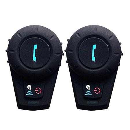FreedConn FDCVB BT Casque de Moto Helmet Oreillette Bluetooth Motorbike Headset Intercom 500M - Noir (1 unité s avec câ ble souple)