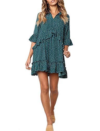 (FASHIONMIA Women's Polka Dot Ruffle T Shirt Dresses Bell Sleeve Tunic Casual Summer Dress Teal Green)