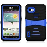 For LG Optimus F3/MS659 (T-Mobile/MetroPcs) Armor 3 in 1 w/Stand Black Skin+Blue PC