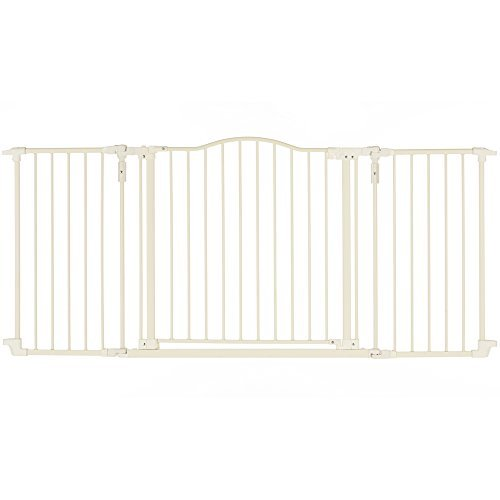 North States Supergate Deluxe Décor Metal Gate, Linen, Hardware Mount by North States - Gate North Mall Shopping