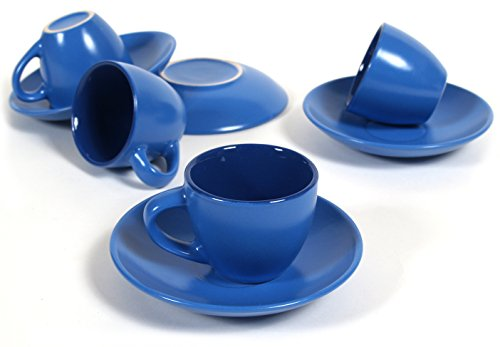 Blue 8 Piece Espresso Cup & Saucer Set, Service for 4