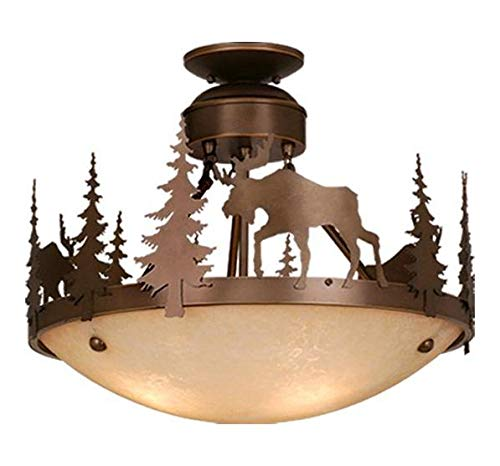 (Burnished Bronze Yellowstone 3 Light 18-1/2 inches Wide Semi Flush Bowl Ceiling Fixture with Moose)